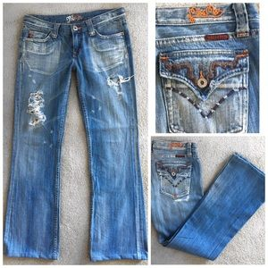 MISS ME BAMBOO FLAP POCKET DISTRESSED BLUE JEANS